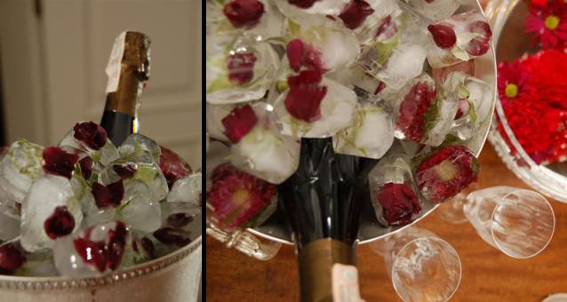 Gelo com rosas